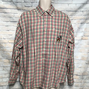 Disney Store Mickey Logo Plaid Long Sleeve Shirt L